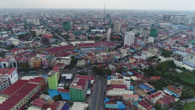 Aerial view of Toul Kork, Cambodia