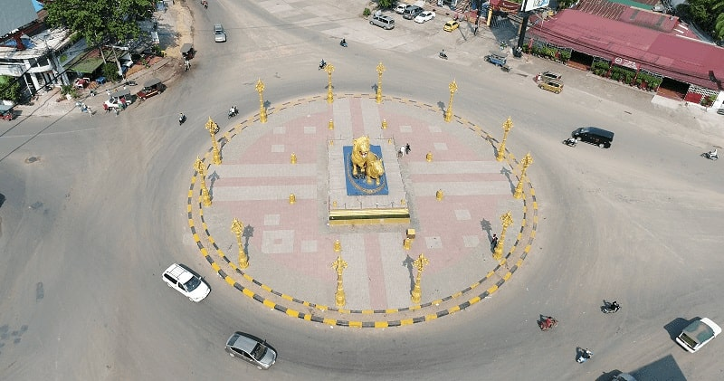 Overhead view of Gold Lion Roundabout in Sihanoukville Cambodia