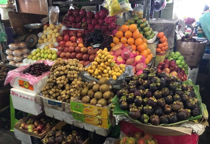 fruit displayed at a market in Cambodia