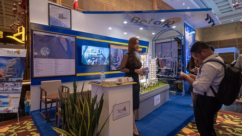 A booth from the Real estate expo 2018 is shown